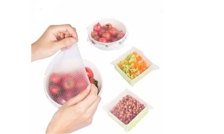 4 Pack Silicone Plastic Wrap Seal Vacuum Food Fresh Magic Wrap Kitchen Gadget US