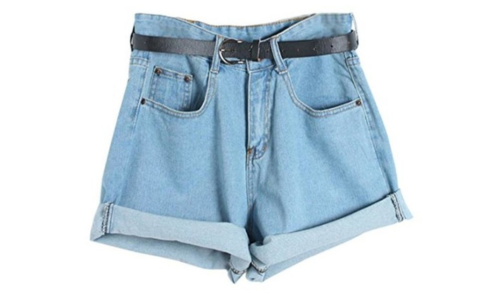 Easy Womens Retro Boyfriend High Waisted Oversize Crimping Jeans Short Pant