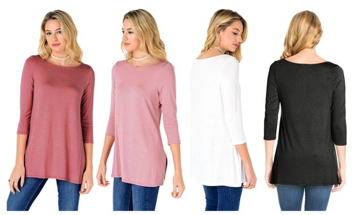 FACA Womens Round Neck 3/4 Sleeve Tunic Top