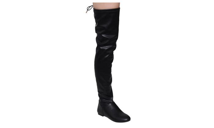 Beston FE52 Women's Drawstring Tie Up Low Flat Heel Dress Boots