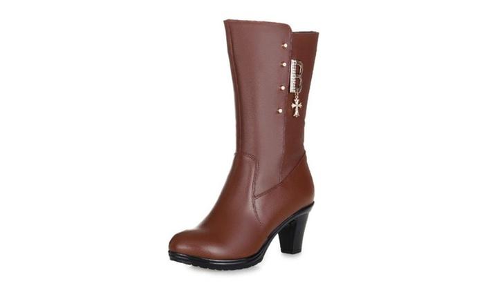 Women's Diamante Zip Martin Boots Lady shoes