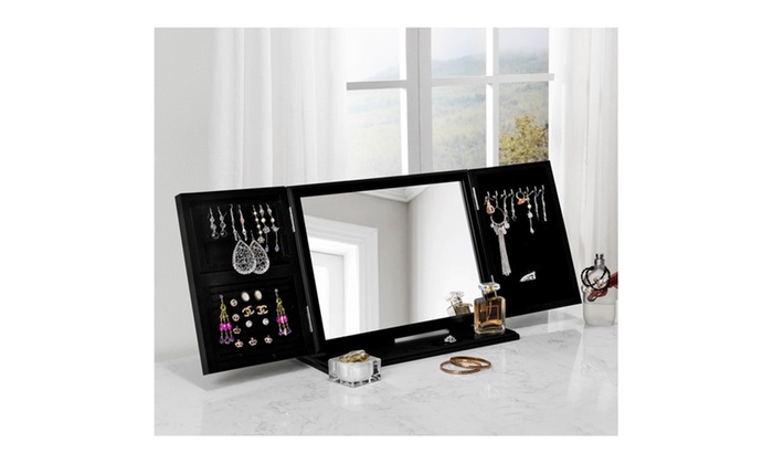 ... Linda 3 In 1 Trifold Tabletop Vanity Mirror Jewelry Storage ...
