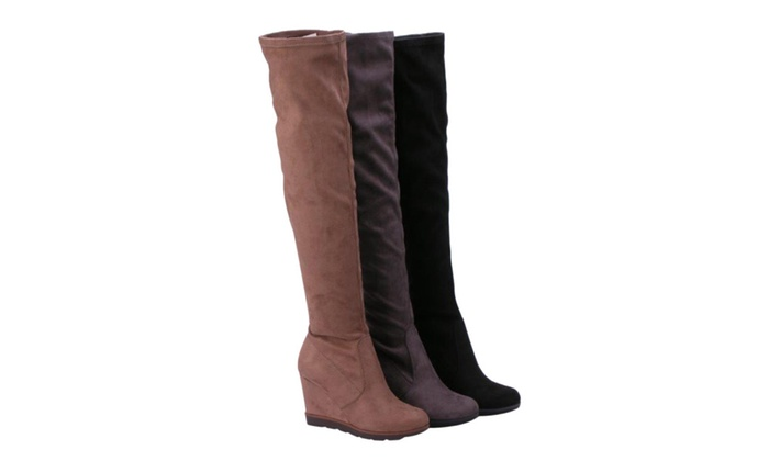 Beston FD01 Women's Stretchy Over The Knee Platform Wedge Boots