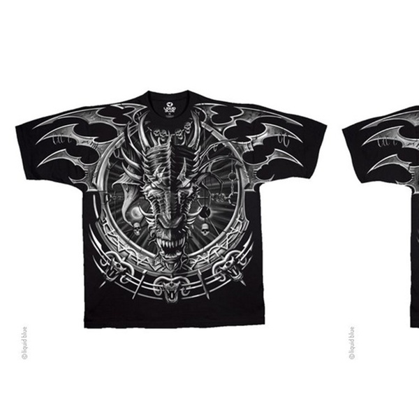 a0e386489cad74 Liquid Blue Graphic Dragon Catcher Dark Fantasy Black 2 Sided T Shirt |  Groupon