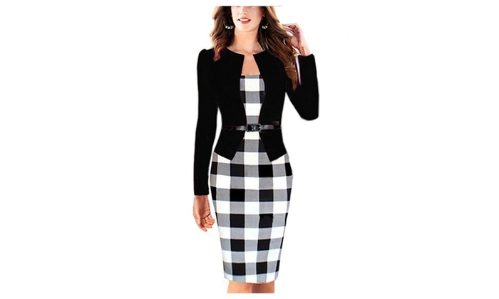 Women Colorblock Wear to Work Business Party Bodycon One-piece Dress