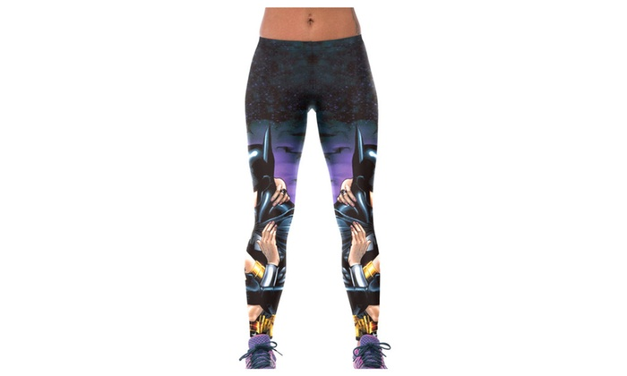 Women's Batman Kissing Wonder Woman 3D Print Leggings - one size