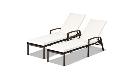 2PCS Patio Rattan Lounge Chair Chaise Recliner Back Adjustable Cushioned Garden