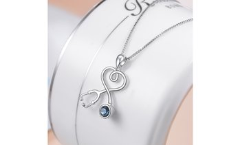Sterling Silver Stethoscope Heart Pendant Necklace With Swarovski Crystals