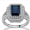 2.50 TCW Sapphire CZ Ring in Platinum over Silver