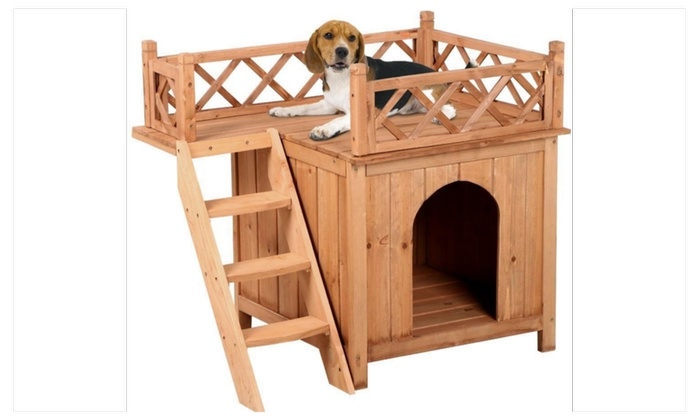 small dog furniture. Wooden Small Dog Puppy House Kennel With Balcony Ladder Cedar Wood NEW Furniture R