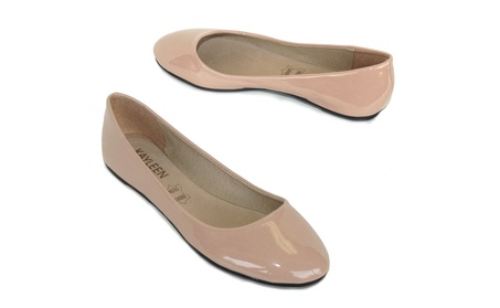 Nude Faux Leather Rounded Toe Flats 1d3751c6-bf6b-4d6d-a545-d3f79255b616