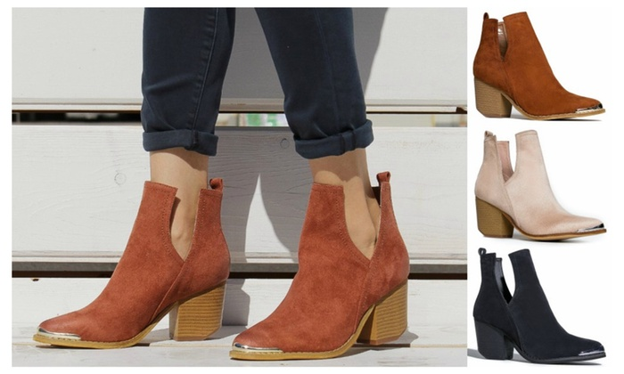 Suede Side Cutout Booties