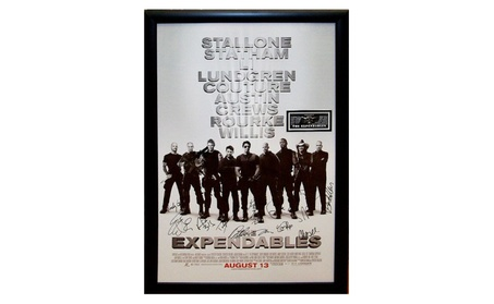 Expendables - Signed Movie Poster in Wood Frame with COA 826bae15-7a88-4728-89b3-7ddc8c1755ea