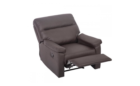 Brown Recliner Sofa Chair Home Lounge with Padded Seat Backrest 024 47ced069-4b3d-4336-a083-c34ec2e9f39e