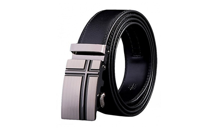 Soft Direct Men's Leather Belt Sliding Buckle 35mm Ratchet Belts