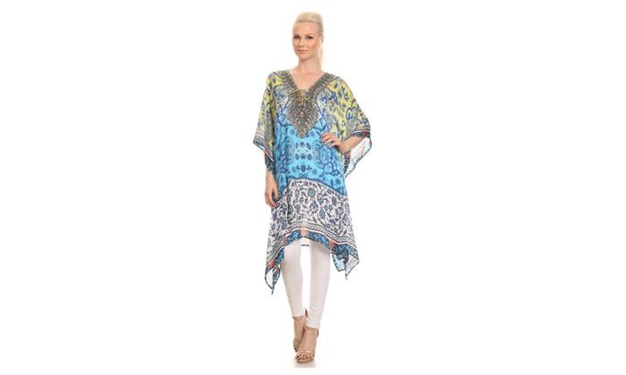 Sakkas Liv Ligthweight Summer Printed Short Caftan Dress / Cover Up