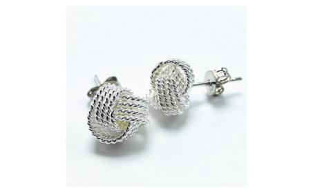 Silver Twisted Love Knot Stud Earrings 782c088d-2fa5-4377-b562-143f23074623