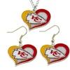 Kanas City Chiefs Swirl Heart Necklace & Earring Set NFL Charm Gift