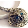 Stainless Steel Cross Owl box Pendant Necklace for Women