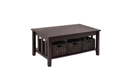 Side End Coffee Table Stand Wooden Storage 3 Baskets 9b2cfb2a-b451-4da6-8ec8-6e5547ec91d7