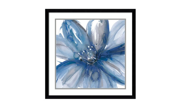 Groupon Goods: Framed Art Print 'Blue Beauty I (Floral)' by Rebecca Meyers: Outer Size 23 x 23""