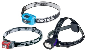 Wakeman Outdoors Water-Resistant Lightweight Hands-Free LED Headlamps