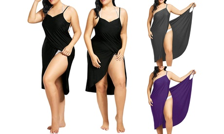 Women Spaghetti Strap Swimwear Scarf Beach Cover Up Backless Wrap Long Dress