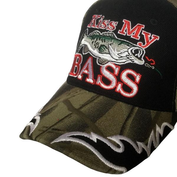 3D Embroidered Kiss My Bass w// Fish Fisherman Baseball Cap Hat Adjustable