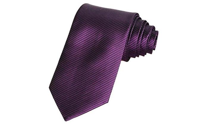 Stripe Classic Woven Men's Ties Neckties for Wedding Party Dress - Plum Purple / Size: Length; 57'' ...