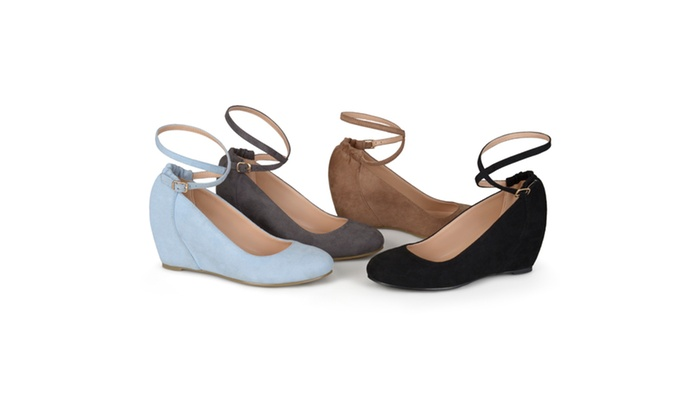 Journee Collection Womens Ankle Strap Covered Wedges