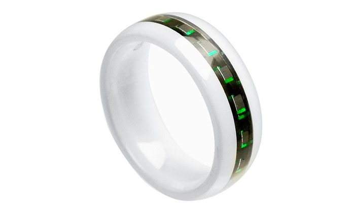 gifts with thought 8mm white ceramic domedblack green carbon fiber inlay wedding - Sports Wedding Rings
