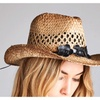Cowgirl Style Straw Hat with Black Floral Accent