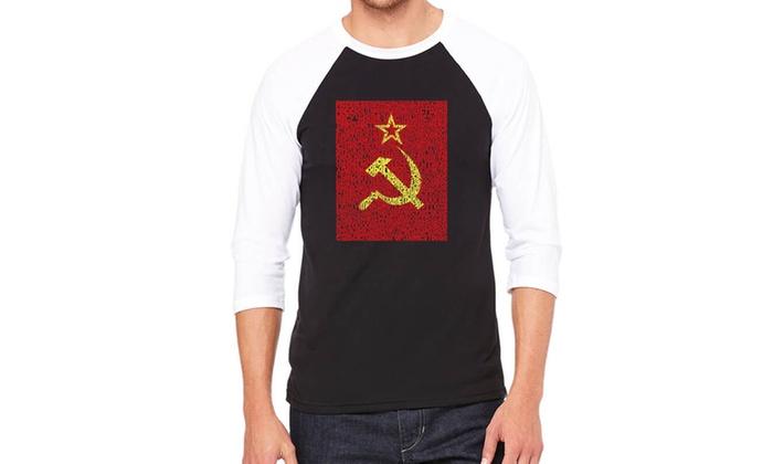LA Pop Art Men's Raglan Baseball Word Art T-Shirt - Soviet
