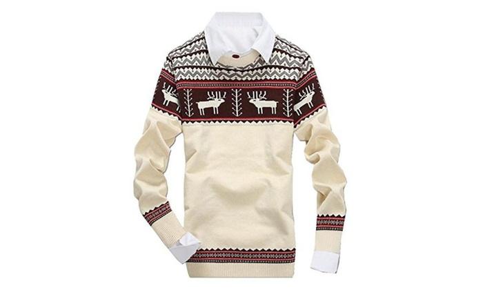 Unko Men's Cool Jacquard Reindeer Pattern Long Sleeve Sweater