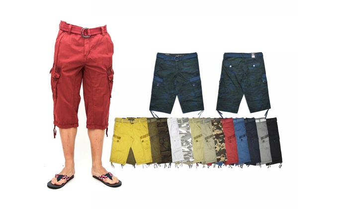 267d98984a XRAY Jeans Mens Belted Messenger Cargo Shorts | Groupon