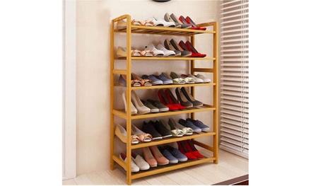 6 Tier Wood Bamboo Shelf Entryway Storage Shoe Rack Home Furniture Organizer