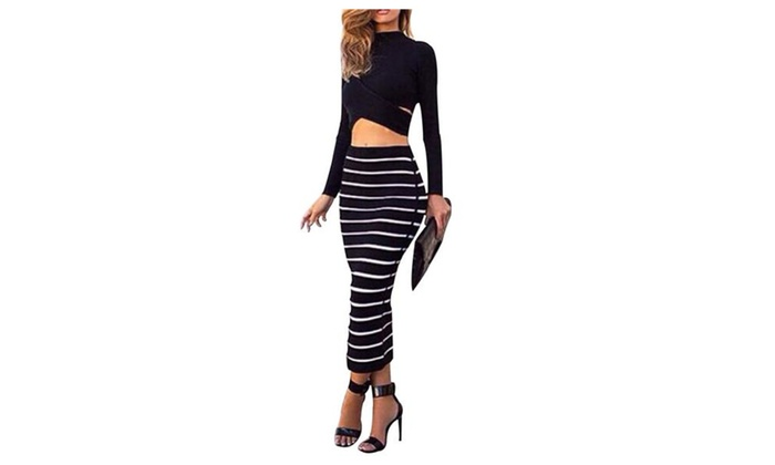 Women's Sexy 2 Accessories Long Sleeve Top High Waist Skirt Set