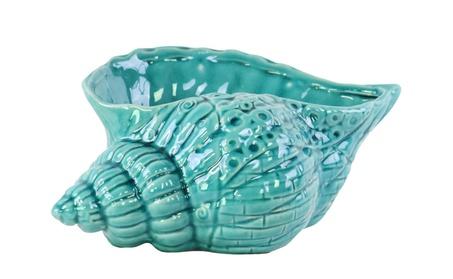 Ceramic Conch Seashell Sculpture Gloss Finish Turquoise 845412cd-9198-433a-82f9-d1c868e7e154