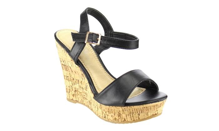 Beston FB25 Women's Platform Ankle Strap High Heel Wedges Sandals