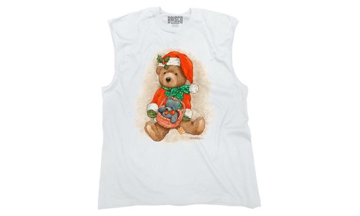 Santa Teddy Bear Christmas basket Sleeveless T-Shirt