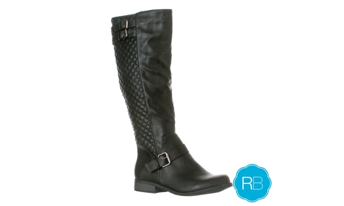 Riverberry Women's 'Olivia' Knee-High Quilted Riding Boot, Black