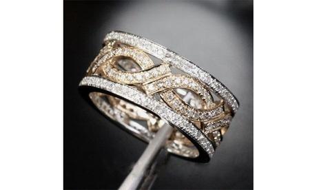 Women's 925 Sterling Silver Paved Diamond 18K Gold Bridal Wedding Band Ring