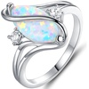 18K White Gold Plated White Fire Opal Accent Ring