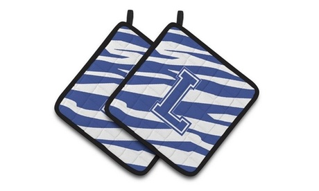 Carolines Treasures CJ1034-LPTHD Monogram Initial L Tiger Stripe Blue & White Pa photo