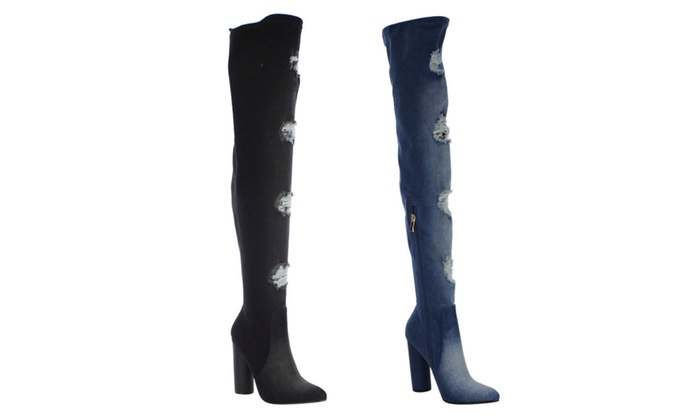 FG50 Women Over The Knee Ripped Distressed Chunky Heel Denim Boots