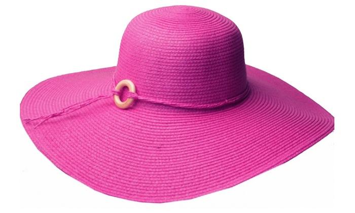 Womens UPF 50+ 100% Paper Straw Wood Bead Accent Wide Brim Floppy Hat