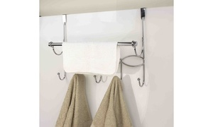 Home Basics over the door hooks and towel rack, chrome