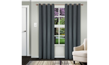 Superior Solid Insulated Thermal Blackout Grommet Curtain Panel Set