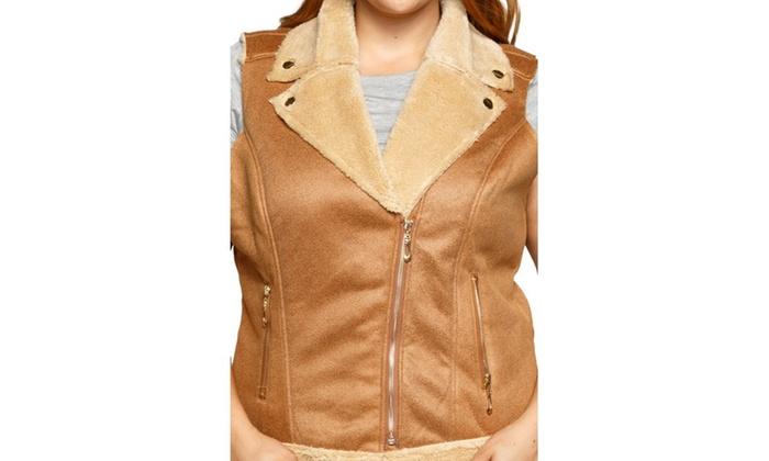 4741de14fd305 ... Xehar Women s Plus Size Faux Fur Shearling Fashion Jacket Vest