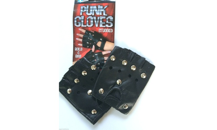 2 BLACK SILVER STUDDED PUNK HALF GLOVES Biker Heavy Metal Rocker Costume Stud